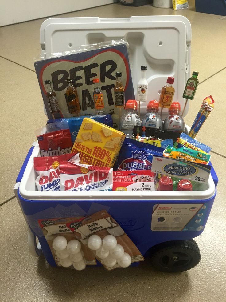 Ice Chest Gift Basket, 21st birthday for a guy.