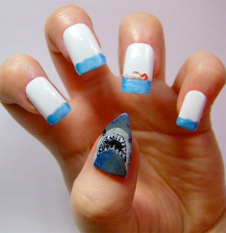 Jaws Nails...minus the shark...I like the white with light blue tips