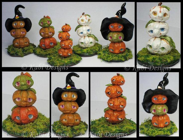 Handmade Polymer Clay Little Fantasy Totem Pumpkis by KabiDesigns on deviantART