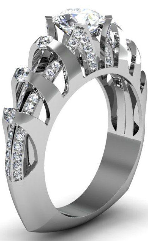 Platinum and diamond accented ring with round diamond center stone Stuller