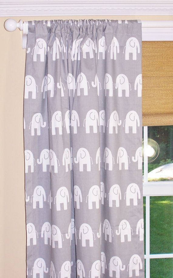 "ELE ELEPHANT CURTAINS Premier Prints Fabric Two Drapery Panels 50 "" Wide Rod Pocket Pink Chartreuse Turquoise Grey"