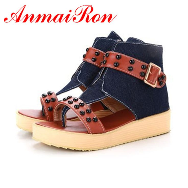 ANMAIRON Sexy Sandals Fashion Ankle T-straps Flat With Women Summer Leisure Shoes Flats Sansals Women Shoes  Big Size 34-43