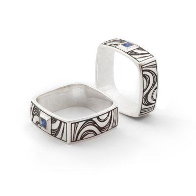 Square Sapphire Ring. Men's silver ring. Geoff Mitchell design. Australia.