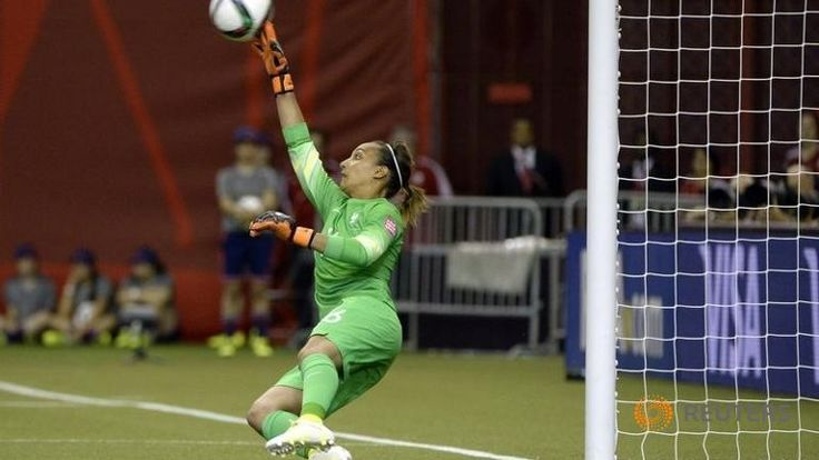 France goalkeeper Sarah Bouhaddi (16) cannot make a save against Germany as the ball glances off her fingertips during penalty kicks in the quarterfinals of the FIFA 2015 Women's World Cup at Olympic Stadium. Eric Bolte-USA TODAY Sports - RTX1HZQA ▼27Jun2015ChannelNewsAsia|Germany break French hearts in penalty shoot-out http://www.channelnewsasia.com/news/sport/germany-break-french-hear/1944008.html #2015_FIFA_Womens_World_Cup #Quarterfinal_Germany_vs_France