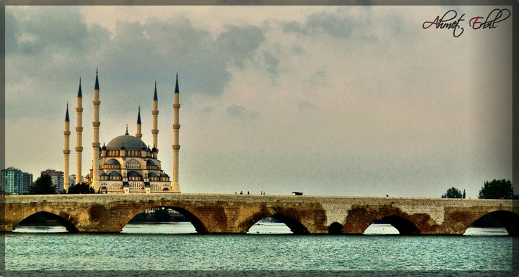 Sabanci Central Mosque and stone bridge, Adana , Turkey