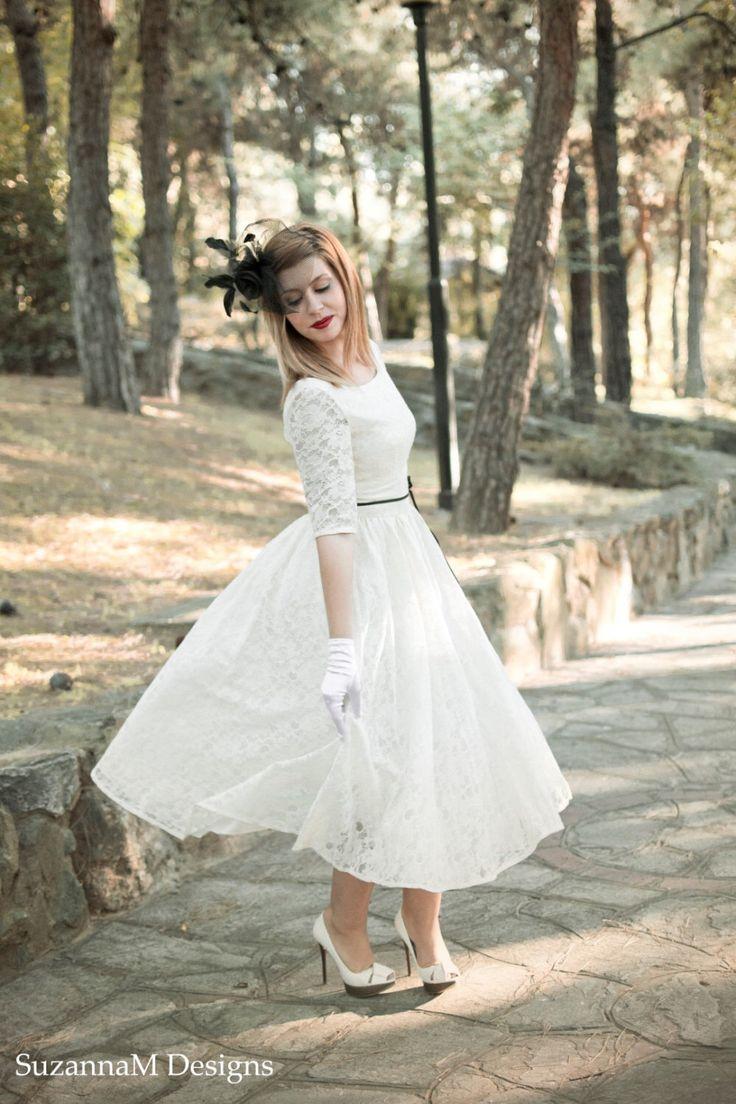 Ivory Cream 50s Wedding Dress Full Skirt Original 50s Style Bridal Dress Tea Length Dress - Handmade by SuzannaM Designs by SuzannaMDesigns on Etsy https://www.etsy.com/listing/106022775/ivory-cream-50s-wedding-dress-full-skirt