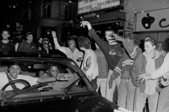 Ravers dancing outside 'the Trip' at the Astoria London, 1988