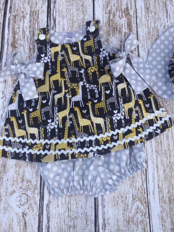 Baby Girl Holiday Dress Baby Girl Giraffe by SimplyTotsBoutique