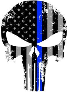 Thin Blue Line Punisher Skull Decal
