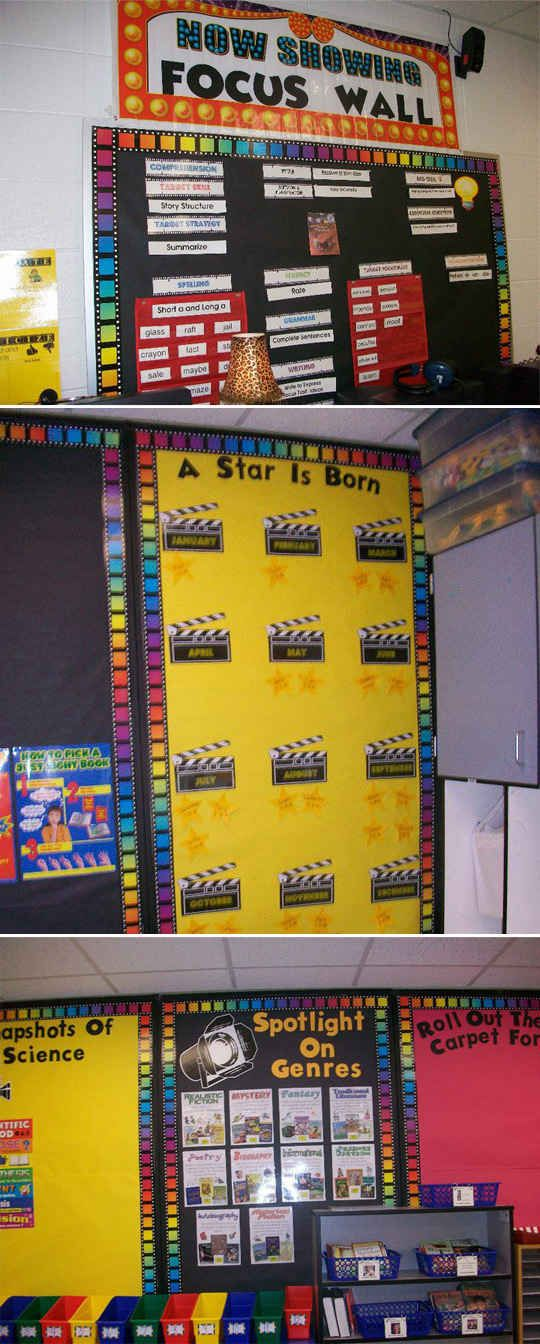 Employ a theme, like this clever Hollywood classroom motif.   36 Clever DIY Ways To Decorate Your Classroom
