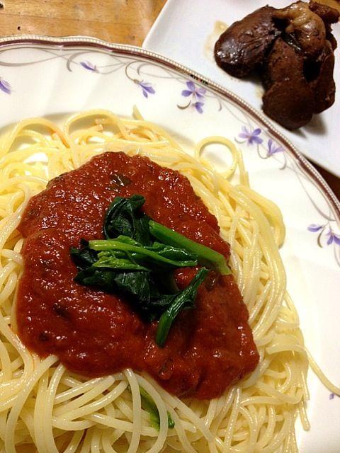 鶏レバーは生姜とネギと一緒に。 - 9件のもぐもぐ - トマトガーリックソース スパゲティトマトほうれん草のせ&鶏レバーの煮物 by sumichan1112
