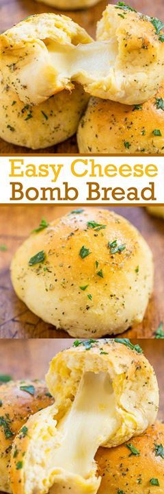 Easy Cheese Bomb Bread - Theres nothing better than diving into soft warm buttery bread fresh from the oven. Except when its stuffed with cheese. Cheese trumps #delicious #diy #Easy #food #love #recipe #tutorial #yummy Make sure to follow cause we post al