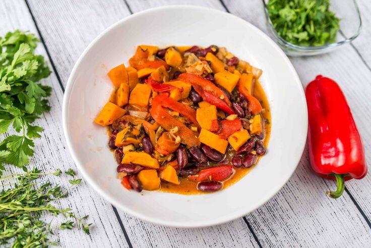 Édesburgonyás-babos curry recept