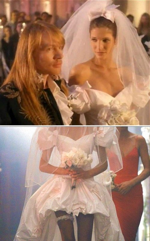 "Part of me wants to find the perfect high-low ""mullet dress"" like the one Stephanie Seymour wore with Axl Rose in the ""November Rain"" music video.  Only without the horrible puffy '90s sleeves, ha."