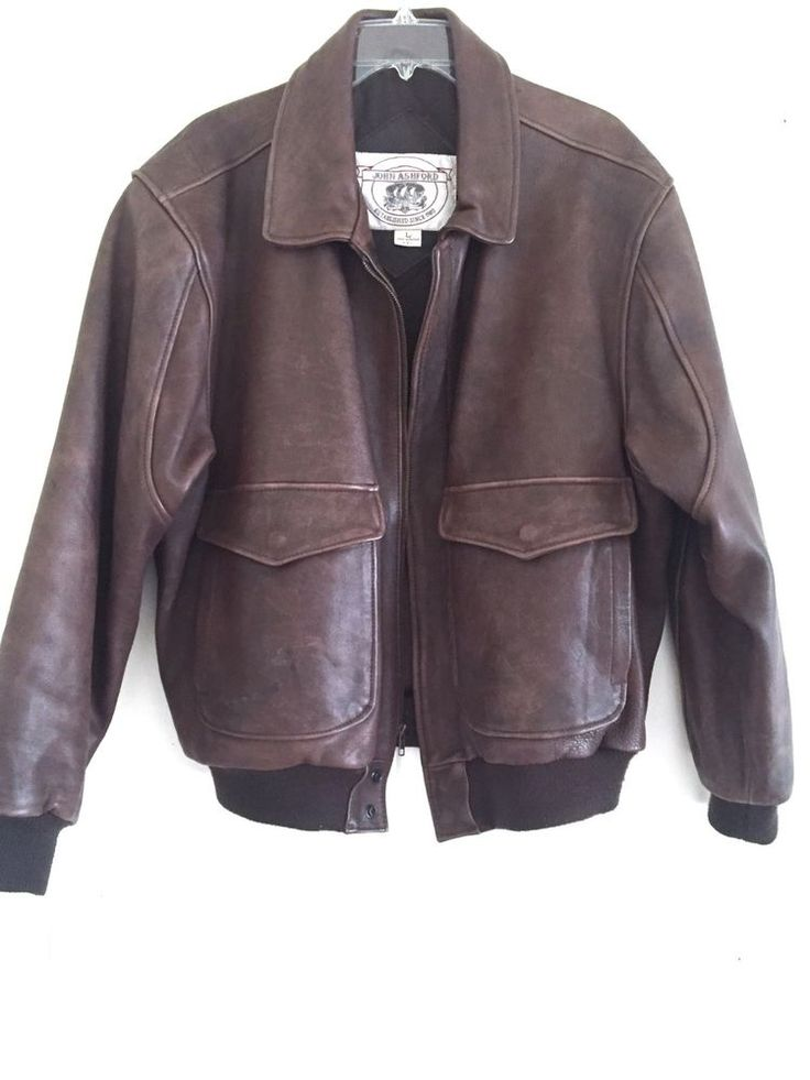 Vtg Leather Flight Bomber Pilots Top Gun Jacket Type A2 G3 L John Ashford #JohnAshford #FlightBomber