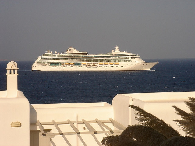 The Brilliance of the Seas anchoring in front of our hotel, Porto Mykonos. We spent four days in Mykonos and boarded the ship there instead of in Athens. The Highspeed 4 ferry got us to Mykonos in short order.     http://cruisenewz.net