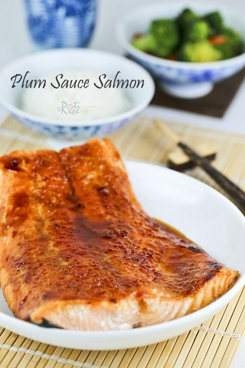 Super quick Plum Sauce Salmon with minimum prep work. Only 5 ingredients and less than 15 minutes to prepare. | Roti n Rice