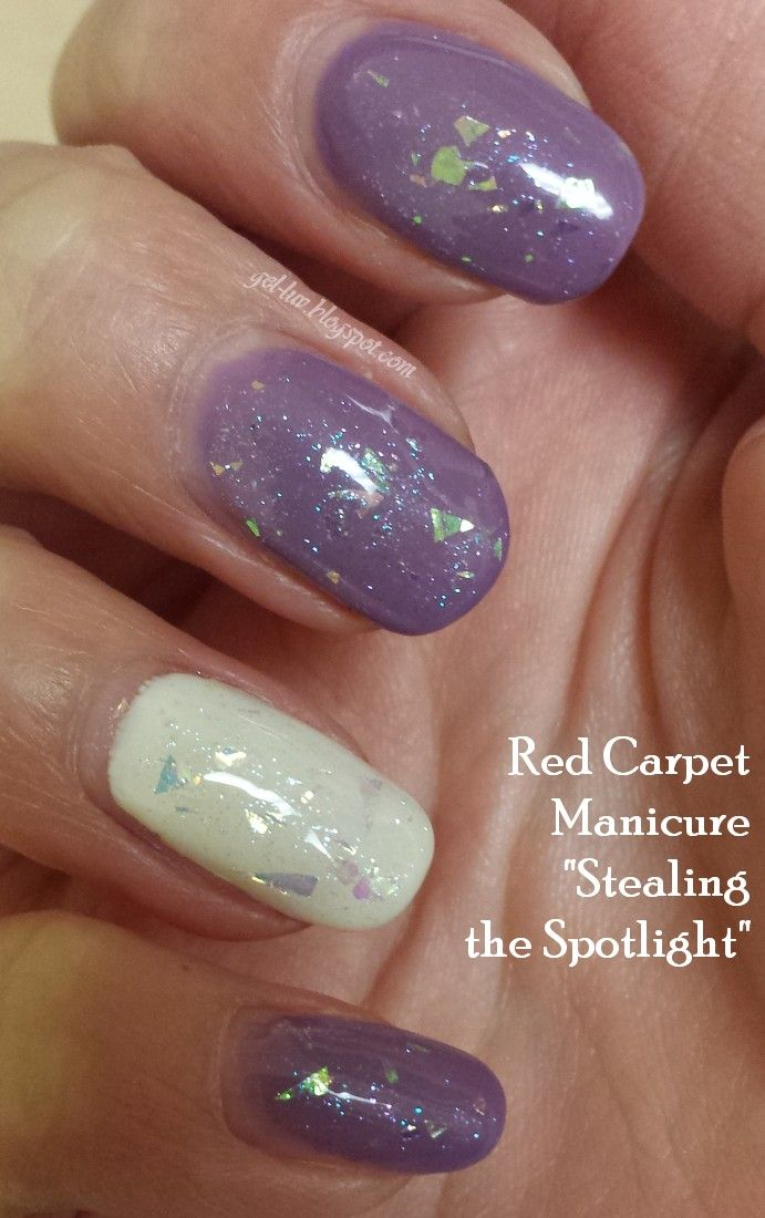 """OPI Gelcolor """"A Grape Fit"""" with Red Carpet Manicure """"White Hot"""" and Red Carpet Manicure """"Stealing the Spotlight"""".  The latter is one of the most gorgeous flakie gel polishes I've found! More pictures, information, etc. at gel-luv.blogspot.com!"""