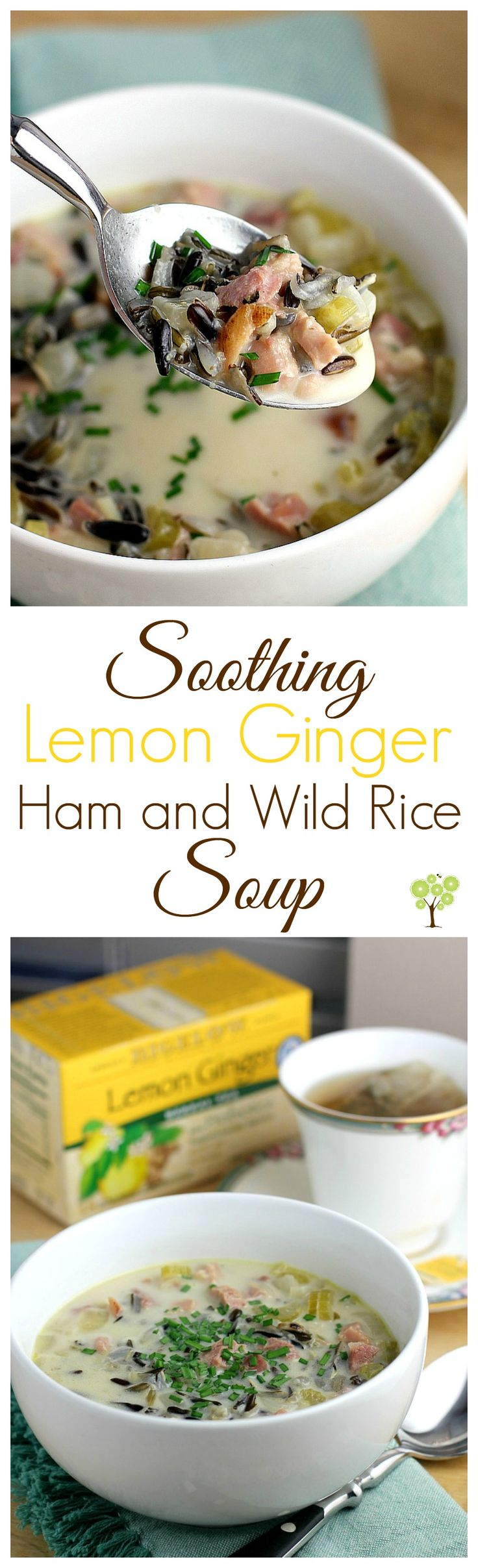 Soothing Lemon Ginger Ham and Wild Rice Soup from EricasRecipes.com #MeAndMyTea #ad @BigelowTea