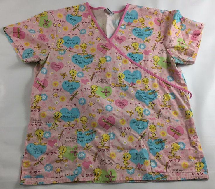 Tweety Bird Women's Scrub Top Pink Back String Front Pocket XL Nurse Medical #LooneyTunes