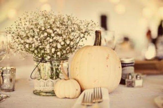 Pumpkin Centerpiece | Fall Decor, White Pumpkin, Pumpkin decor, rustic centerpiece, wedding centerpi