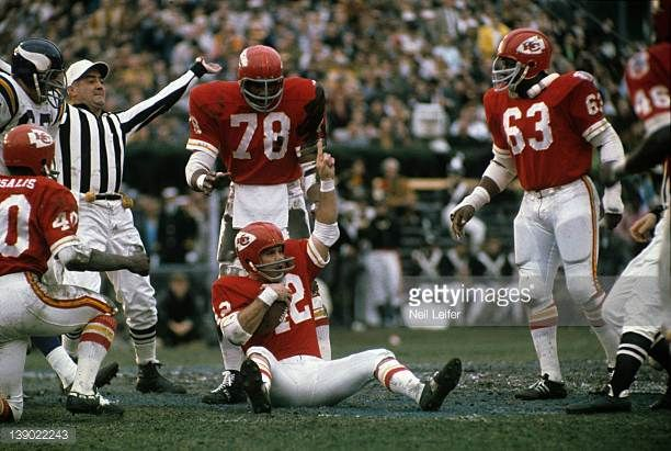 Super Bowl IV Kansas City Chiefs Johnny Robinson victorious after fumble recovery during game vs Minnesota Vikings at Tulane Stadium New Orleans LA...