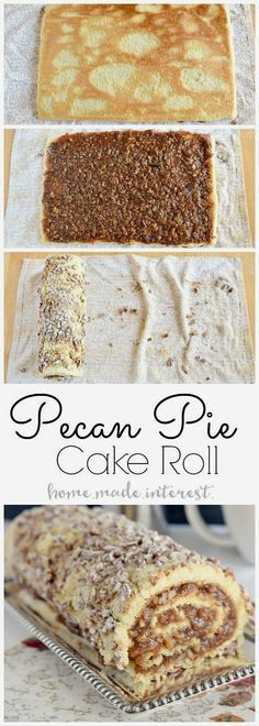 Pecan pie filling rolled into a light sponge cake make this…