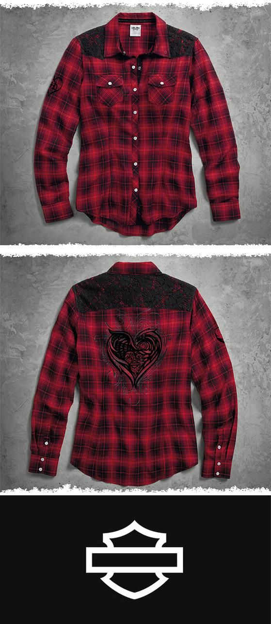 Pearly snaps, lace details, and velvety flocked graphics give this women's long sleeve top a romantic touch. | Harley-Davidson Women's Lace Accent Plaid Shirt