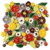 Merola Tile Bouquet Perennial 11-3/4 in. x 11-3/4 in. x 9 mm Ceramic Mosaic Tile, Multi/High Sheen