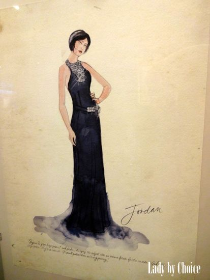 The Great Gatsby (2013) | Designer Catherine Martin's sketch of Elizabeth Debicki's 'Jordan Baker' in a black evening gown.