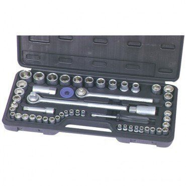 52 Piece SAE and Metric Socket Set with 3/8-inch and 1/2-inch Drive Reversible Ratchets and Carrying Case by Pittsburgh