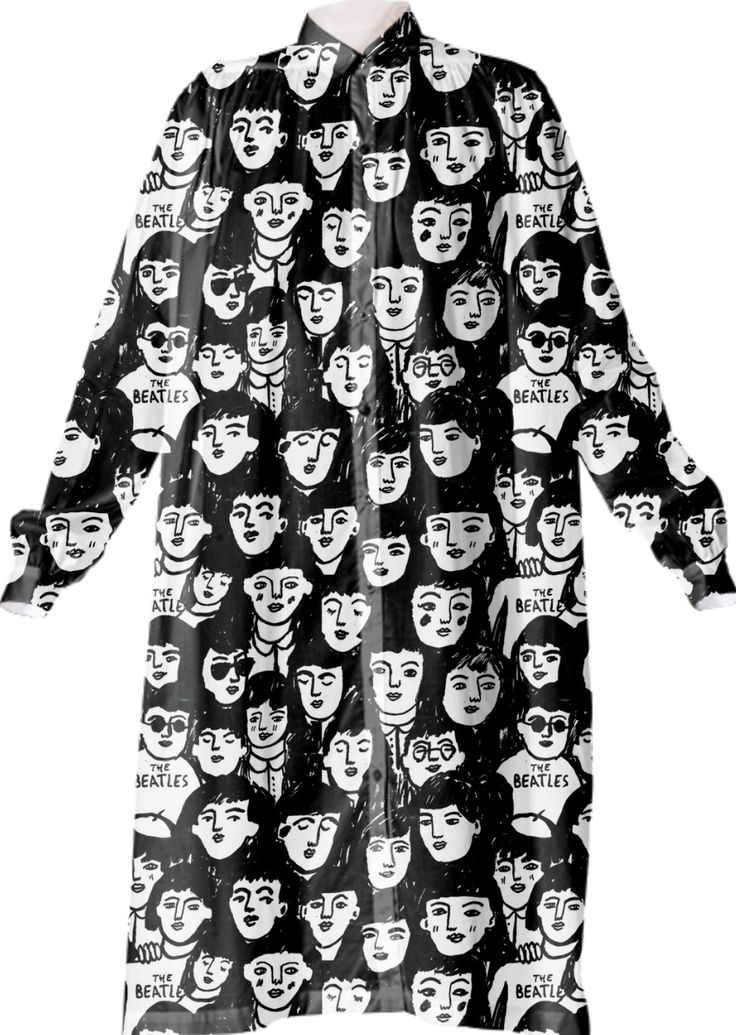 BEATLES FANS Shirt Dress by THE PRINTED PEANUT on Print All Over Me. #paomshirtdress #paomillustration