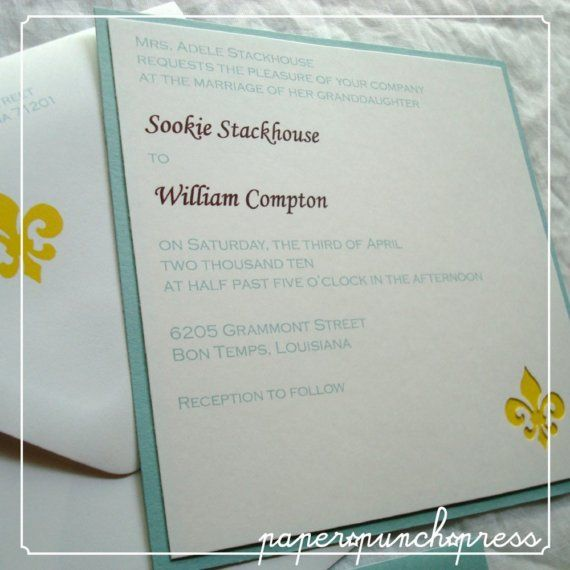 Fleur-de-lis Motif Wedding Invitation Ensemble in White ...