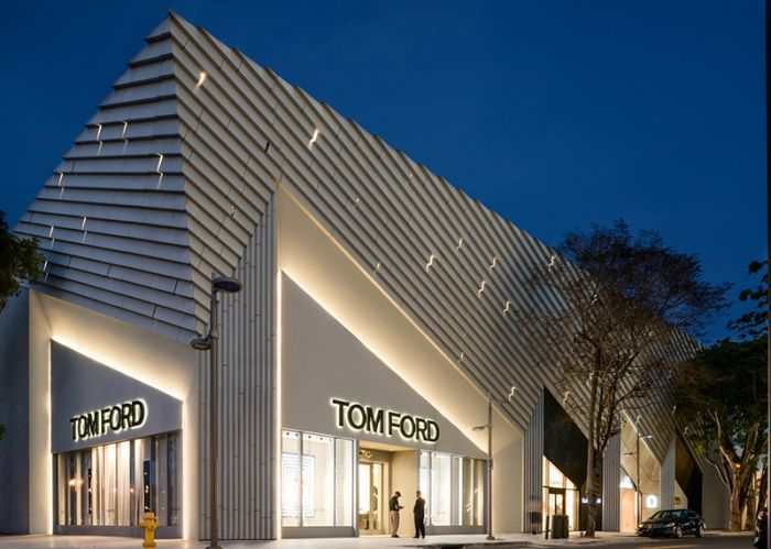 Has completed a store for fashion designer tom ford in the miami design district featuring an angular facade that references bold art deco motifs