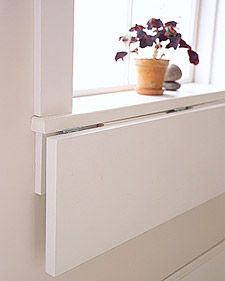 Extend a windowsill by choosing plywood the same thickness as sill; cut it as wide as sill and 12 inches deep. Attach bottom of shelf to bottom of sill with 3 hinges: 1 at the center, the others near the sides. | #DIY Tiny Homes