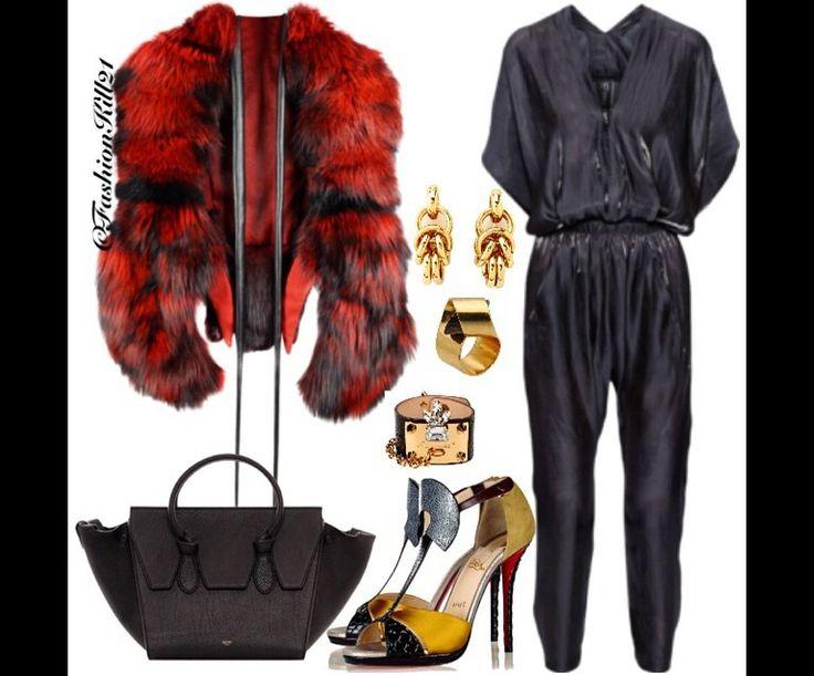 Fur Coat: Forzieri Bag: Celine Shoes: Christian Louboutin Jumpsuit ...