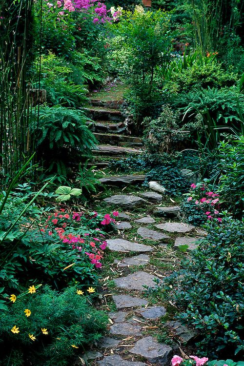 Path of stepping stones through garden in Spring, Creekside Gardens, Roberts Creek, near Vancouver, BC
