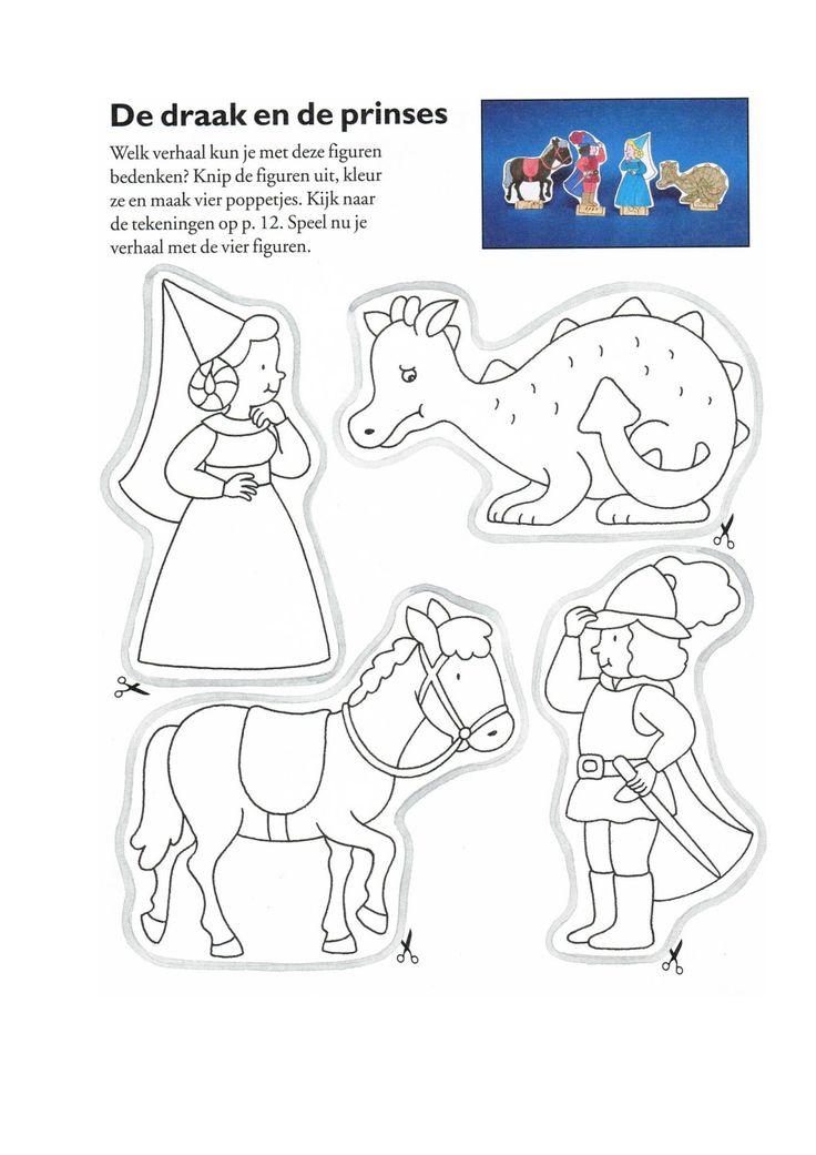 * Vingerpoppetjes: draak, paard, prins en prinses