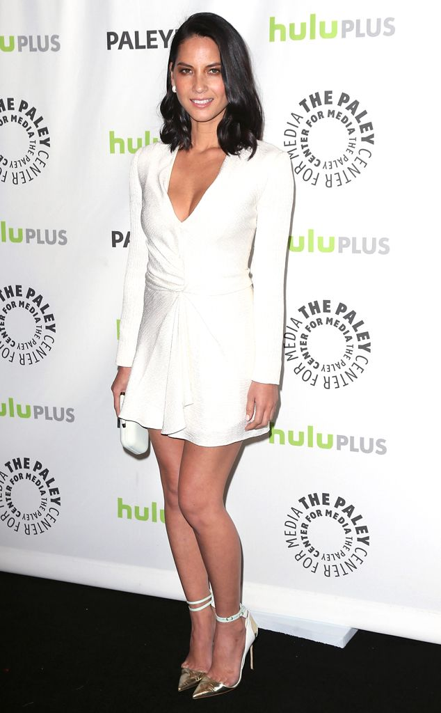 Olivia Munn attends the 2013 PaleyFest wearing a stunning long-sleeve mini by J. Mendel.