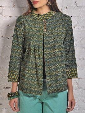 Green Ajrakh Cotton Shirt Jacket