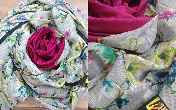 Grey Kota saree in floral print for summers