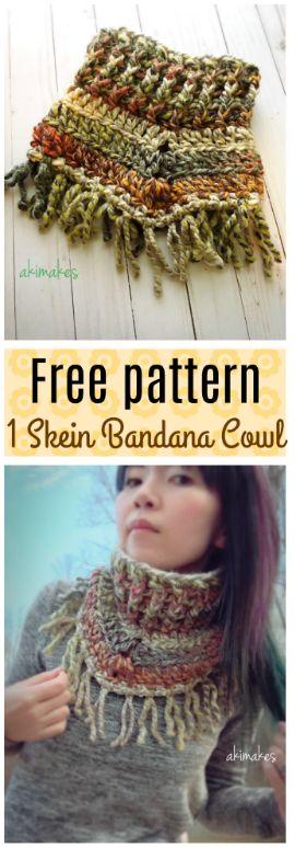 Free crochet pattern-1 skein bandana cowl.
