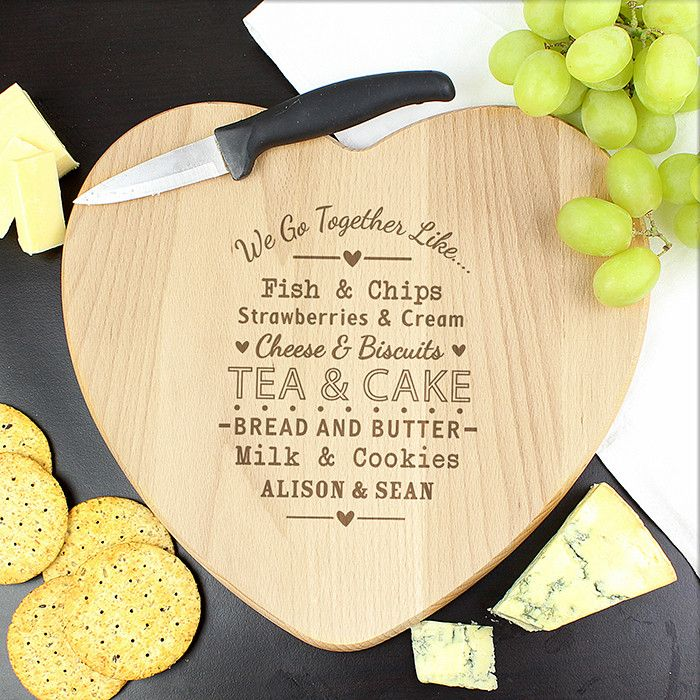 Personalised 'We Go Together Like...' Love Heart Chopping Board