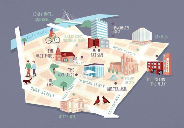 New map of some Manchester restaurants for design agency 93ft