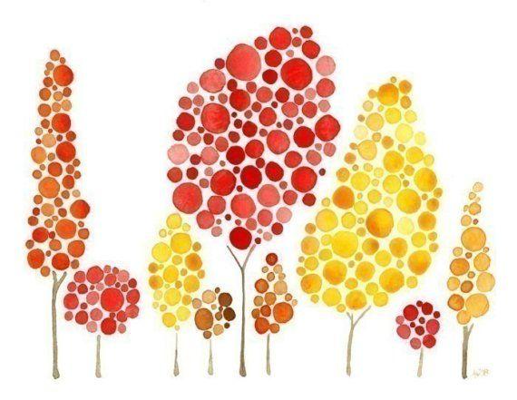 Reuniones de otoño impresión árbol acuarela                                                                                                                                                                                 Más