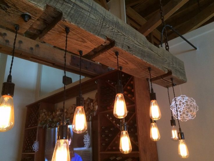 Rustic wood light fixture with reclaimed beam lighting for Rustic wooden light fixtures