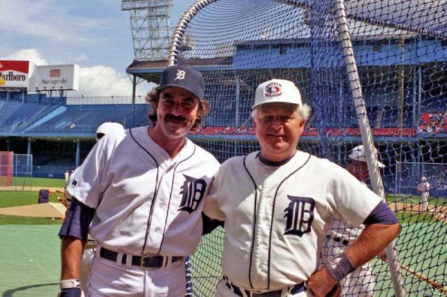 Tom Selleck and Jim Northrup at Tiger Stadium