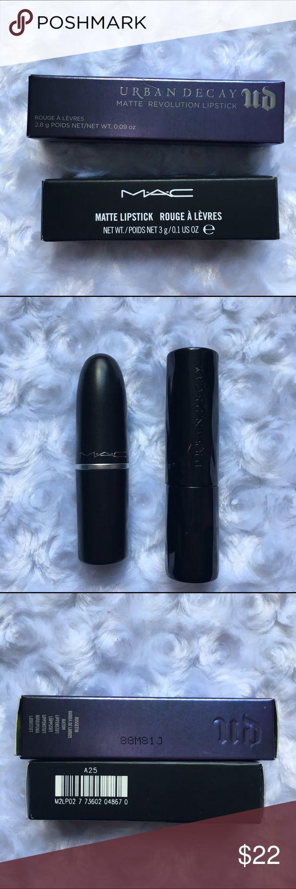 MAC Diva and UD Bad Blood lipstick Authentic Brand new in box MAC diva lipstick and Urban Decay Matte revolution lipstick in bad blood. MAC Cosmetics Makeup Lipstick