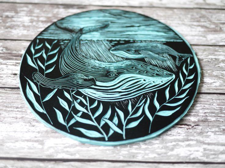 Humpback whale Lino cut Lino print