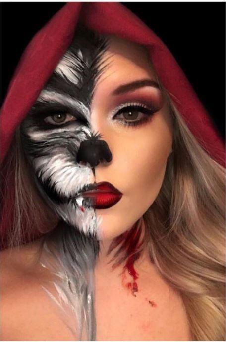 Halloween Makup 2019 Ideas Little Red Riding Hood Halloween Makeup idea. #Costumes | Costumes